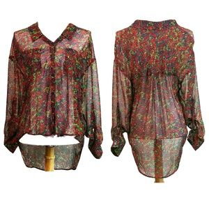 Free People Sheer Floral High Low Long Sleeve Top